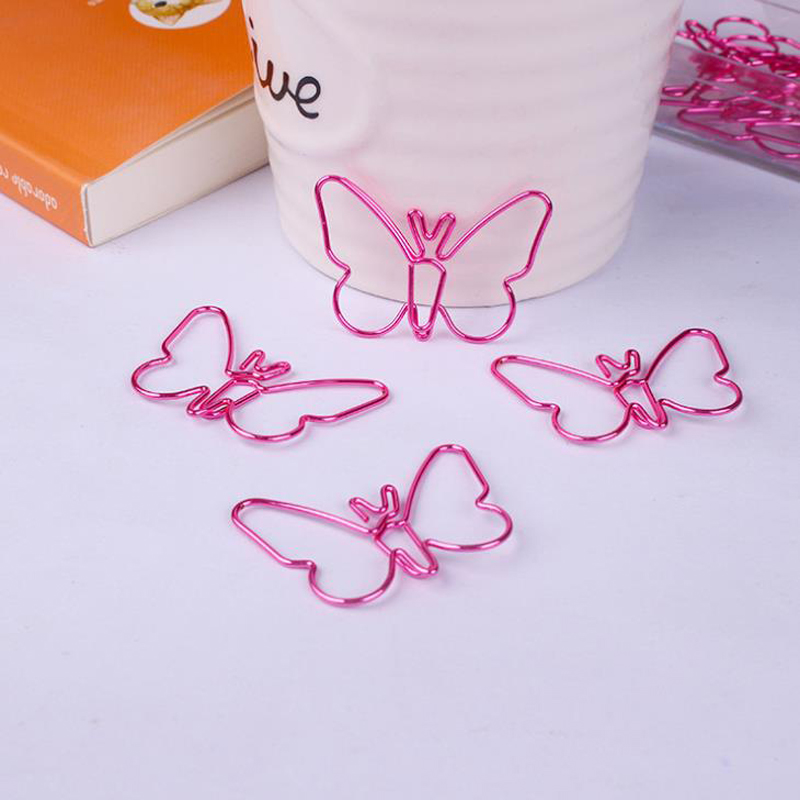 15 Pcs/pack Kawaii Mini Hollow Pink Butterfly Metal Paper Clips Photo Memo Ticket Binder Clips Bookmark Stationery Gifts
