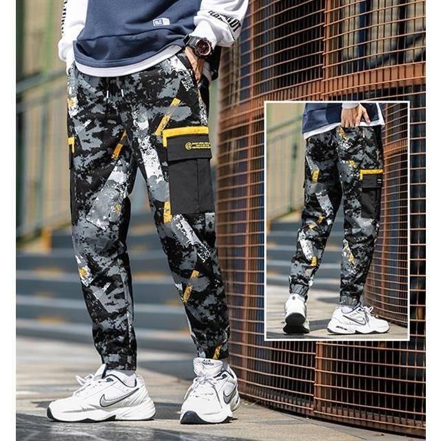 Ins JAP Men's Side Pockets Cargo Harem Pants Hip Hop Comfort Casual Male Tatical Jogger Trousers Fashion Casual Streetwear Pants