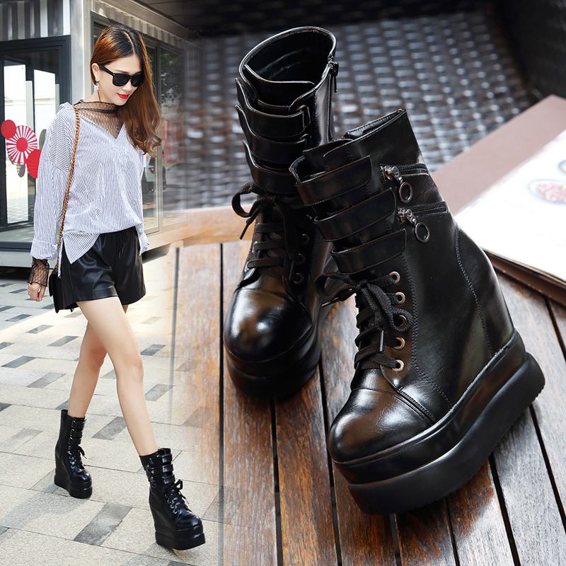 Fashion Wedge Ankle Straps Women 39 s Boots Waterproof Platform Solid High Heels Zipper Slip Ons Women 39 s Shoes 2019 Western Boots in Ankle Boots from Shoes