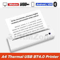 Newest Design A4 USB Printer Portable Mini Bluetooth Wireless Printer Support PDF Documents Photos from Android iOS Mobile Print