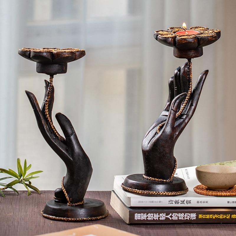 Thaïlande rétro Lotus bougeoir bouddha bois unique tête bois photophore créatif chandelier salon chandelle X6T
