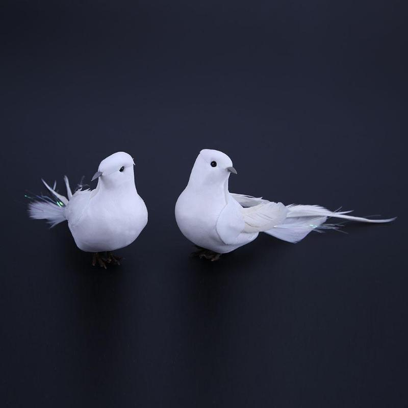 2pcs White Feather Artificial Foam Doves Lover Peace Doves Bird Home Decor  Vivid White Bird Home Decoration Accessories Adornos
