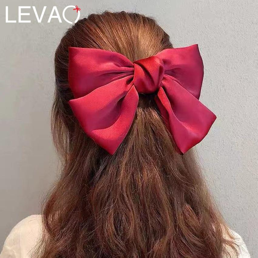 Levao Big Hair Bow Ties Hair Clips Satin/Velvet Bows Clips Girls Hair Accessories For Women Hair Barrettes Bowknot Hairpins