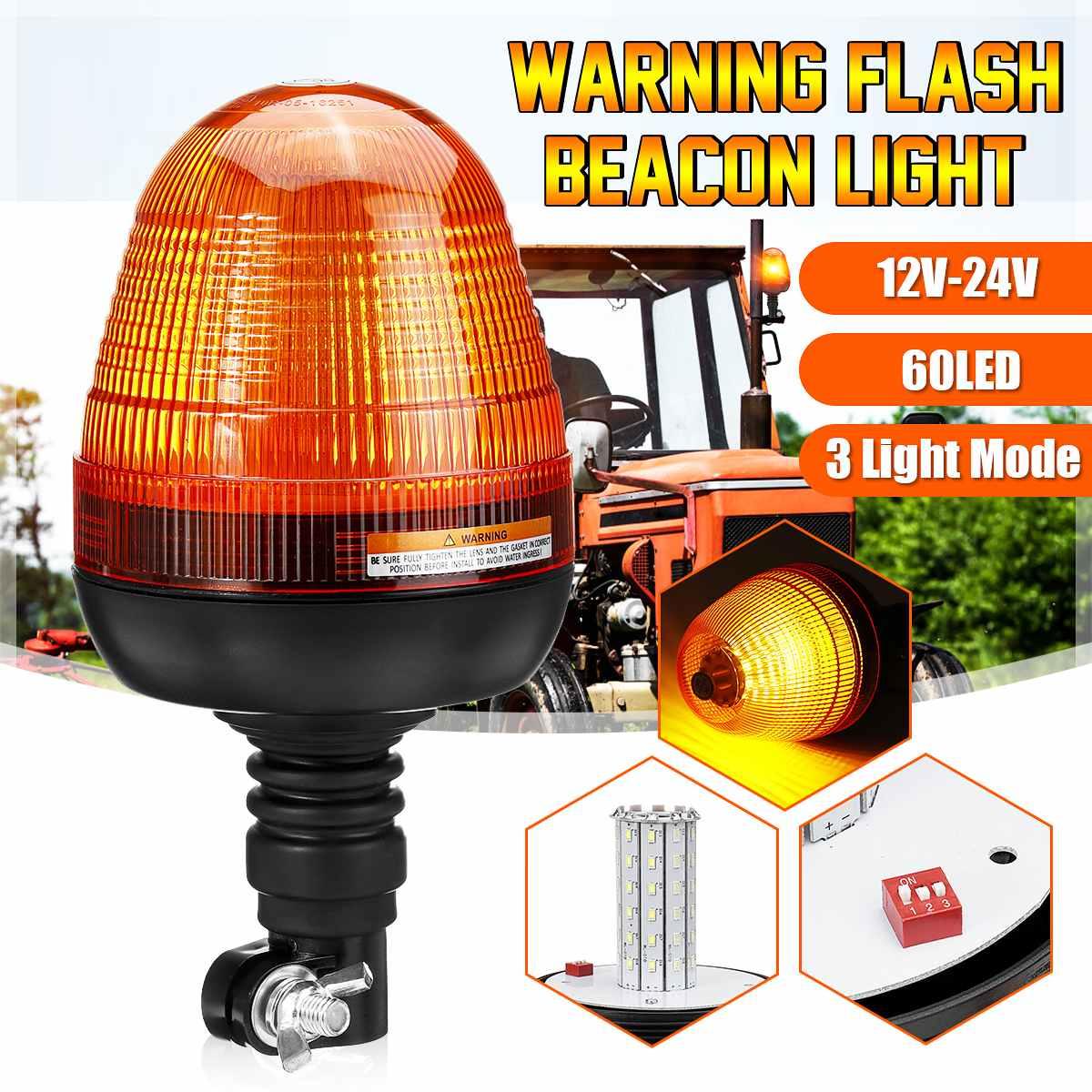 3 Modes 12V 24V 60 LED Car Rotating Flashing Beacon Light Flexible Warning Light Emergency Lamps Amber Tractor Truck SUV Boat