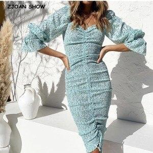 Image 1 - 2020 حزمة جديدة Hips دوت طباعة فستان بكم طويل أنيق المرأة جلد حتى مطاطا Ruched منتصف فساتين حفلات طويلة سليم صالح Vestido