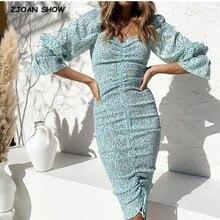 2020 새로운 패키지 엉덩이 도트 인쇄 긴 소매 드레스 우아한 여성 레이싱 탄성 Ruched 중반 긴 파티 드레스 슬림 맞는 Vestido