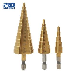 3pcs 4-12/20/32mm Large HSS Steel Step Cone Cut Set Drill Tools Titanium Drill Bits Hole Cutter Durable Coated Metal Drill Bit