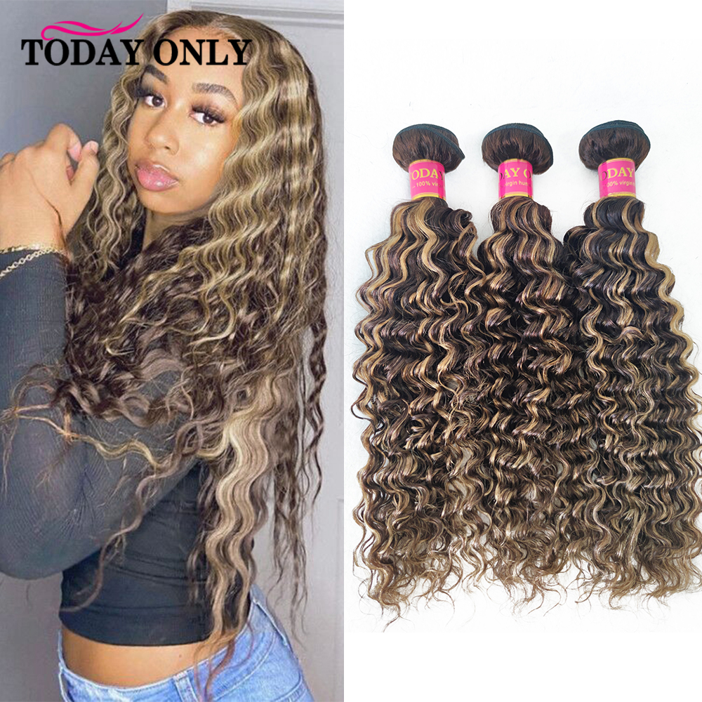 Highlight Deep Wave Bundles Human Hair Extensions 30 inch Bundles Ombre Blonde Brown 1/3/4 pcs P4/27 Deep Wave Bundles Remy