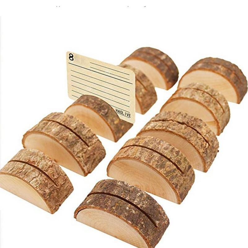 10PCS SurePromise Rustic Real Wood Base Table Name Number Place Card Holder Photo Memo Clips Holder for Party Wedding Table Decoration
