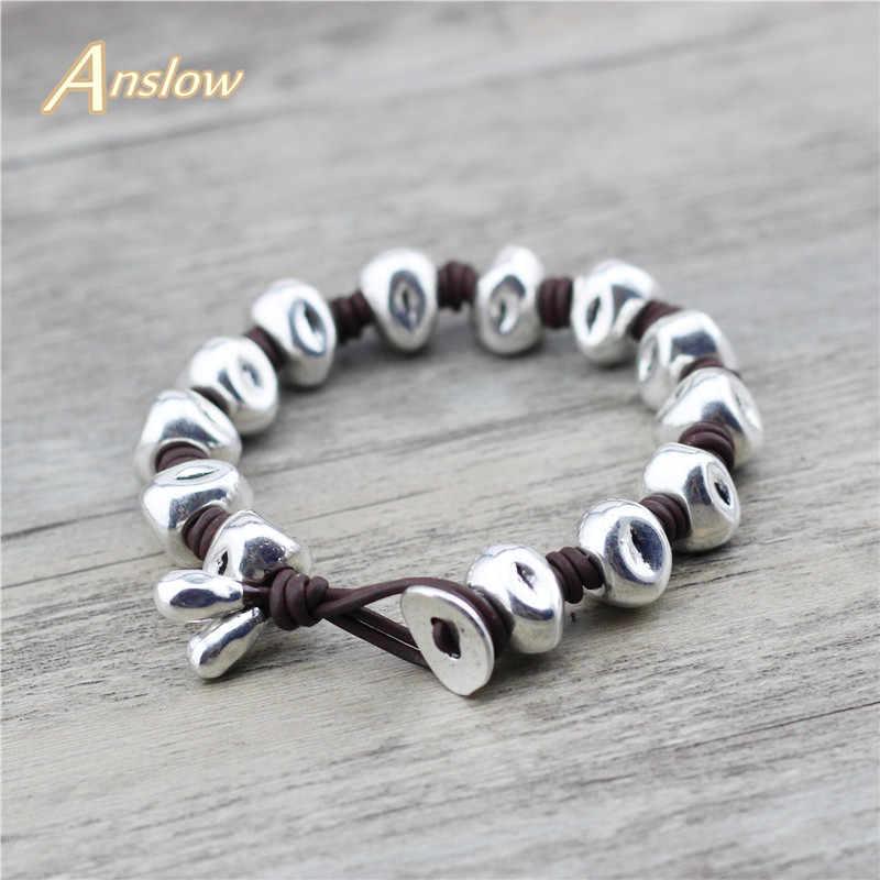 Anslow מותג בעבודת יד לעטוף רטרו קלוע שבטי Wristbands צמיד עור לגברים יוניסקס נשים תכשיטי חבר מתנה LOW0792LB