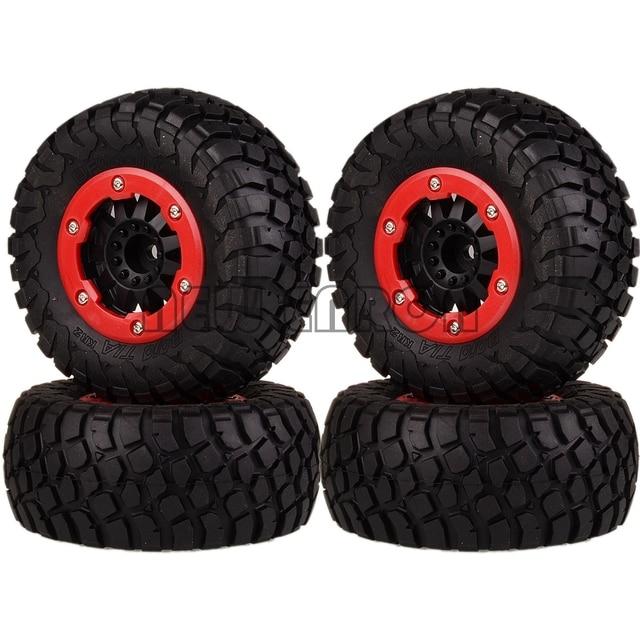 NEW ENRON 4PCS Bead-Lock Short Course Truck Tire Tyre & Wheel Rim Hub 12MM HEX FOR Fit 1:10 1/10 Traxxas Slash 4x4 VKAR 10SC HPI