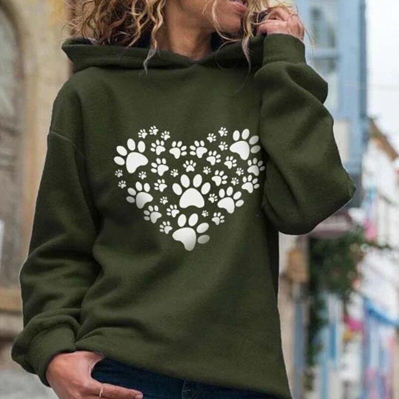 2020 Autumn Print Heart Paw Women's Hooded Sweatshirts 2