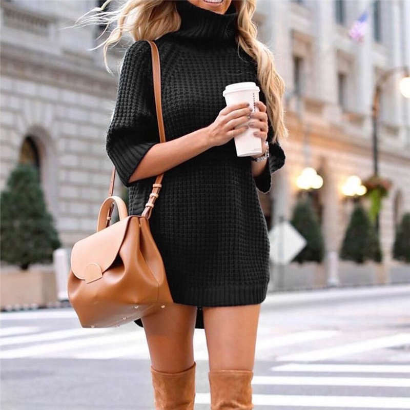 Fashion Women Casual Irregular Sweater Dress Solid Long Sleeve Half Sleeve Knitted Sweater Top Pullover Feminino 50Au2916