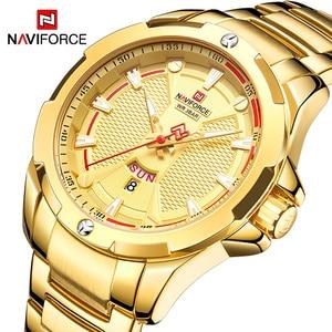 Image 1 - NAVIFORCE Top Luxury Gold Watch Sport Watches For Men Military Quartz Wristwatch Casual Waterproof Clock Male Relogios Masculino