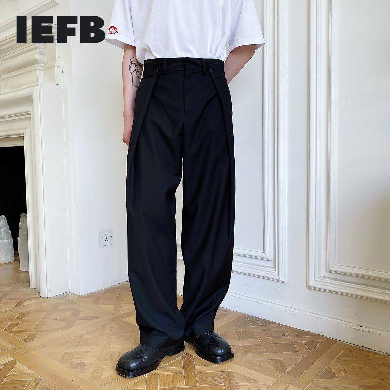 IEFB /men's wear Fashionable all-match personalized double-fold waist design wide-leg casual black korean style pants 9Y2611