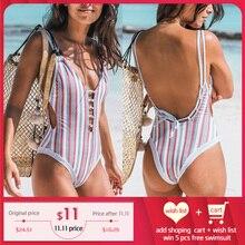 Miyouj חתיכה אחת בגד ים פס סקסי עמוק V צוואר חלול את בגדי ים נשים ללא משענת תחבושת הדפסת בגד ים 2018 Monokini