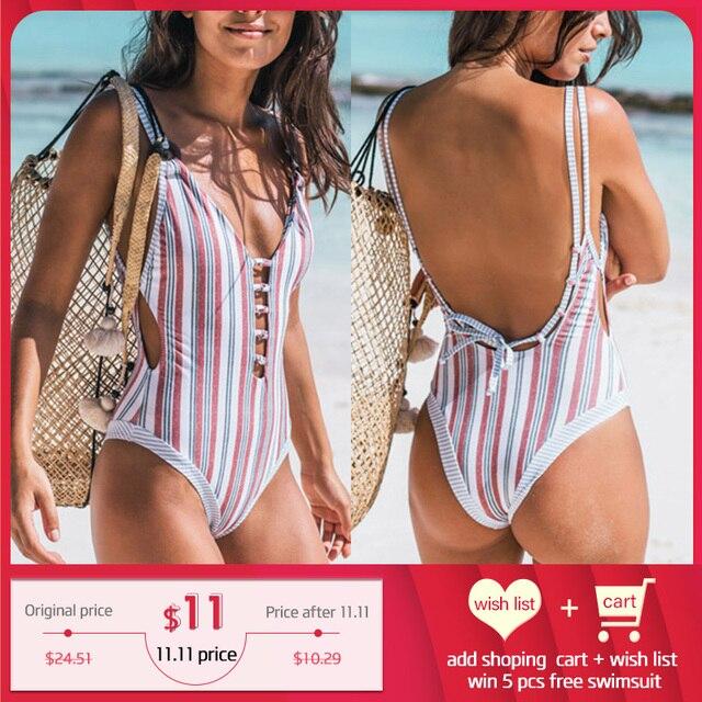 Miyouj tek parça mayo şerit seksi derin v yaka Hollow out mayo kadınlar Backless bandaj baskı mayo 2018 Monokini
