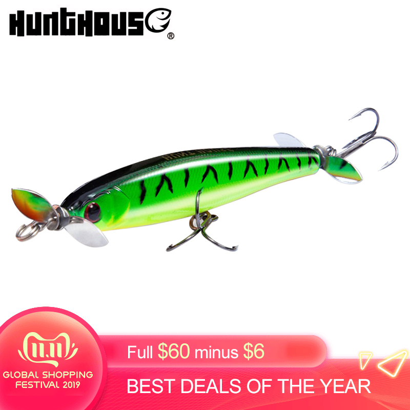 Hunthouse Prop Pencil Bait Hard Lure Topwater Fishing For Bass Artificial Bait 90mm 14.5g