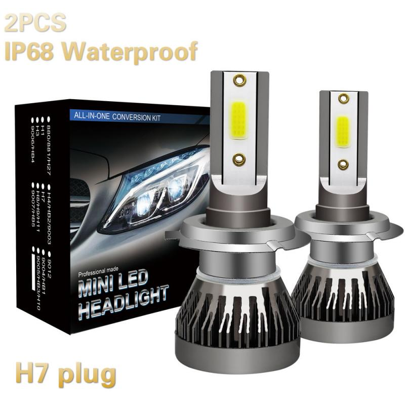 2PCS H7 LED Headlight Bulb 90W 12000LM LED Canbus Auto Light H7 IP68 Waterproof LED Bulbs Pure White 6000K Headlamp Beam Kit