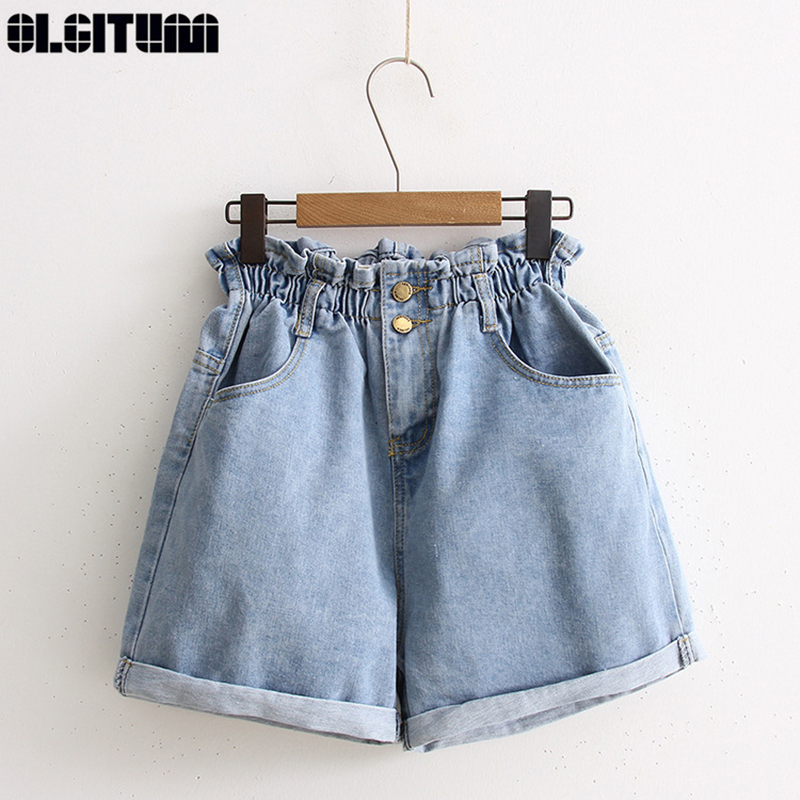 Blue White Fashion Simple Wild Elastic Waist Pocket Jeans Women 2020 Summer High Waist Denim Shorts Women Casual Wide Ladies