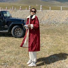 Женская зимняя куртка из овечьей шерсти средней длины