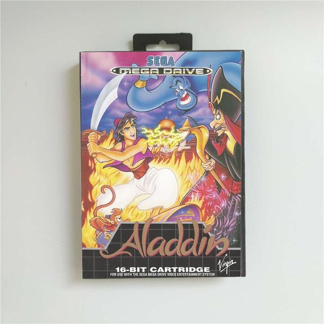 علاء الدين غطاء يورو مع صندوق البيع بالتجزئة 16 بت MD بطاقة الألعاب ل Sega Megadrive نشأة لعبة فيديو وحدة التحكم