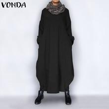 VONDA Plus Size Autumn Dress 2019 Vintage Sexy Long Sleeve Party Maxi Long