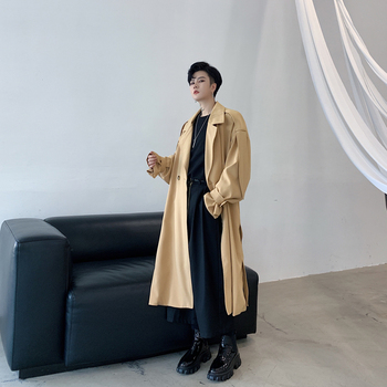 Men's windbreaker 2020 spring new solid color shoulder patchwork loose long coat youth personality fashion men's clothing
