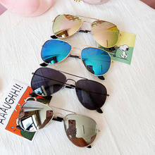 Classic Sunglasses Mirror Metal-Frame Children UV400 Girls Colorful Kids