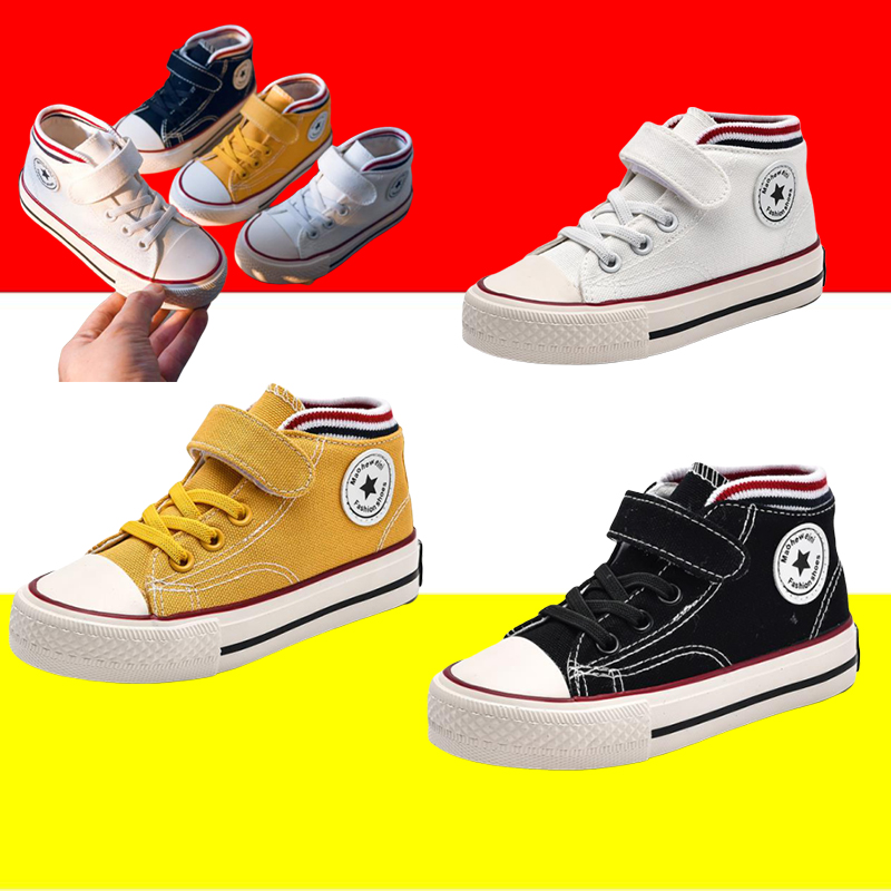 Canvas Shoes Girls Sneakers Toddler Shoes Hook & Loop Fashionable Non-slip Colorful Shoes For Children