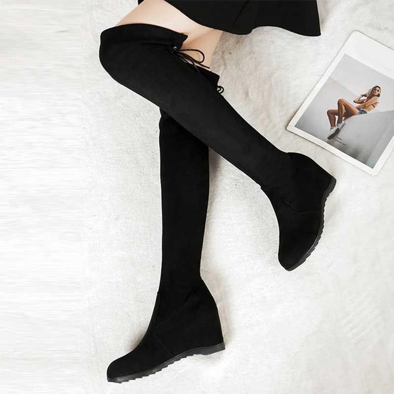 Kadın Diz Yüksek Çizmeler Üzerinde Streç Süet Takozlar Kadın bağcıksız ayakkabı Bayanlar kadın Moda 2019 Kış Dantel Up