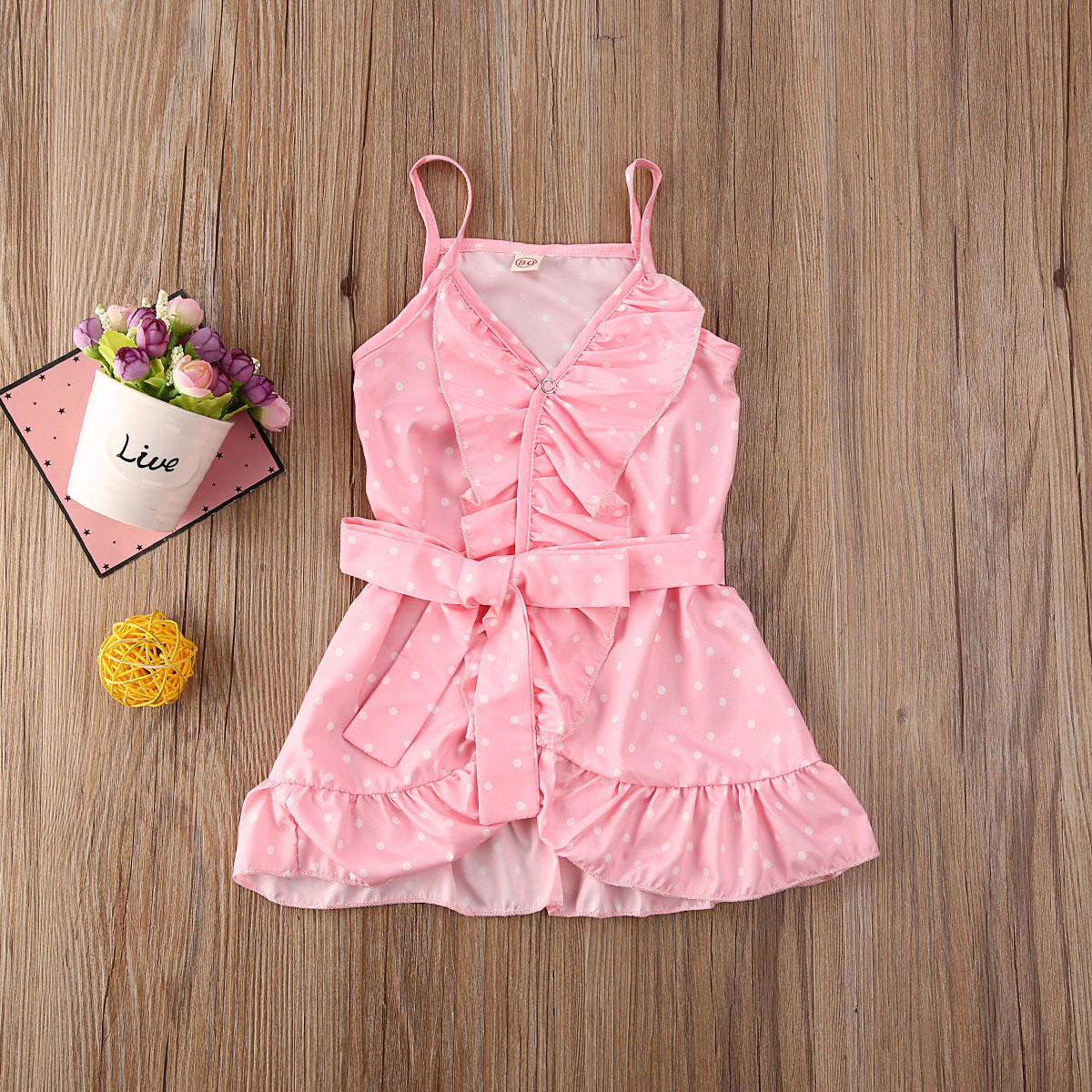 Pudcoco Toddler Baby Girl Clothes Polka Dot Flower Ruffle Sleeveless Strap Dress Summer Outfit Clothes