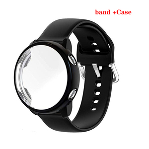 2pack For Samsung Galaxy Watch Active 2 44mm Strap Full coverage Case Protector Film Silicone Bracelet For Active 40mm watch