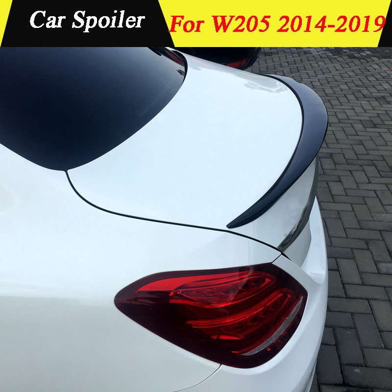 For Mercedes Benz W205 C-class 2015 2016 2017 2018 2019 ABS Primer Color Exterior Rear Spoiler Tail Trunk Boot Wing Decoration title=