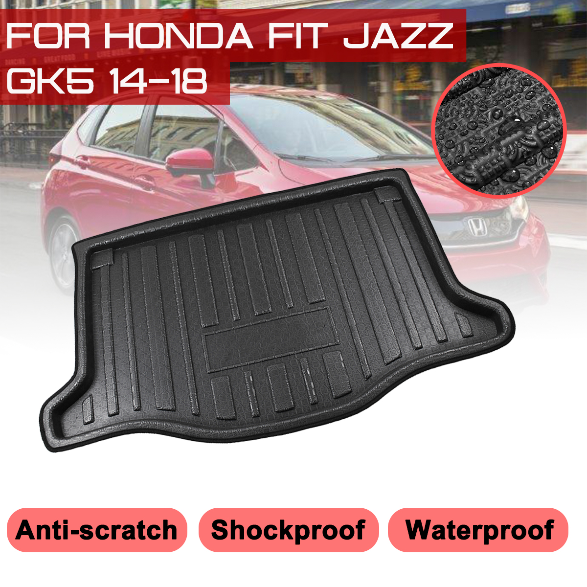 Car Floor Mat Carpet For <font><b>Honda</b></font> <font><b>FIT</b></font> JAZZ GK5 2014 <font><b>2015</b></font> <font><b>2016</b></font> 2017 2018 Rear Trunk Anti-mud Cover image