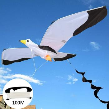 Kids Lifelike 3D Seagull Kite Flying Game Outdoor Sport Fun Toy with 100m Line Fun Sports Educational Gifts For Kids Adults