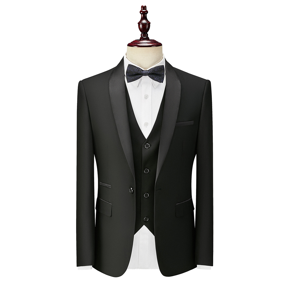 3 Piece Slim Fit Men Suits For Wedding Tuxedos With Shawl Lapel Black Formal Groom Suit Set Jacket Pants Vest Ready In Stock