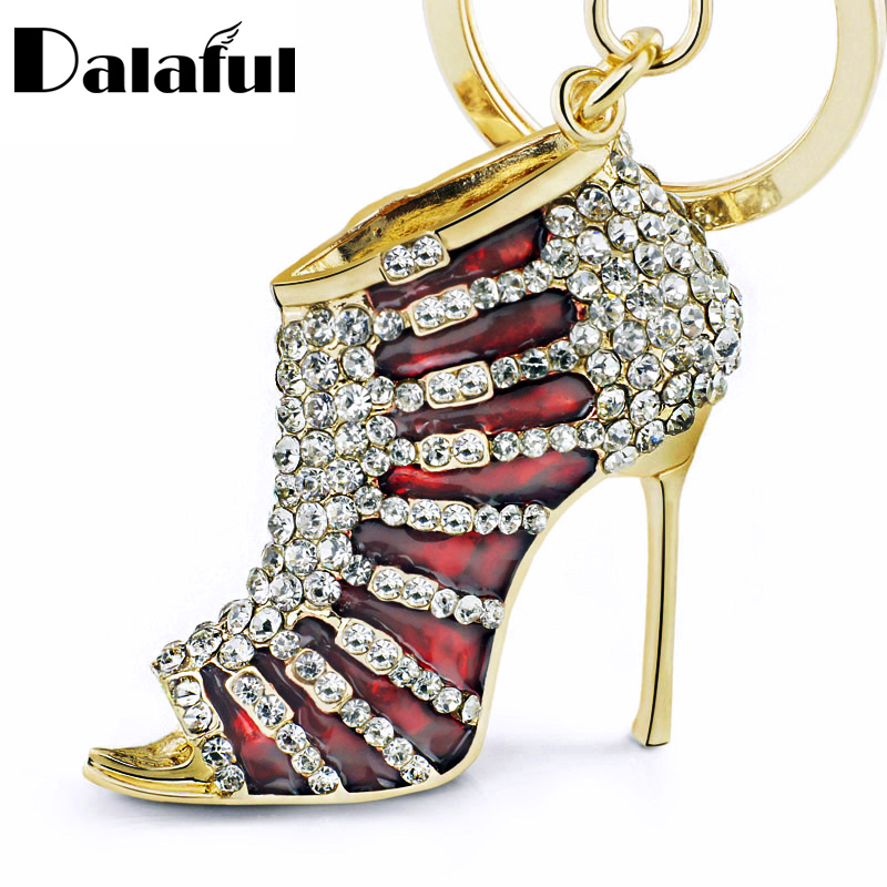 Charm High heel Shoes Keyrings Keychains Crystal Trendy Purse Bag Buckle Bag Pendant For Car key chains Jewelry K220(China)