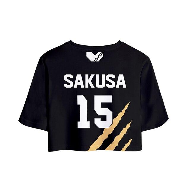 Haikyuu MSBY Black Jackal Streetwear Two Piece Sets 3D Outwear Harajuku Women Pullover Short Elastic Waist Tops Anime Hip Hop 6