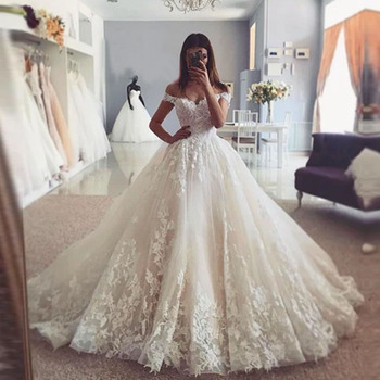 Trouwjurk Off  Shoulder Boho Wedding Dress Appliques Bridal Gowns V Neck Elegant Robe De Mariee Lace A Line Bride Dresses 2021 front slit appliques wedding dresses 2019 off the shoulder a line chiffon bride dress free shipping wedding gown robe de mariee