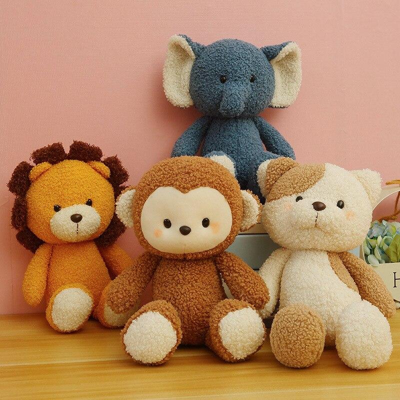 Elephant Lion Monkey Plush Cat Toys Stuffed Animals Soft Cute Pillow Cartoon Infant Companion Birthday Gifts For Girl Kid Just6F