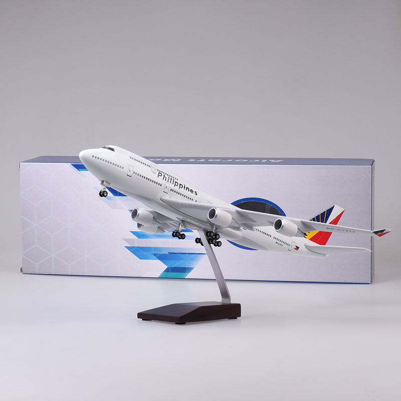 47CM Boeing 747 B747 Model Philippines Airlines With Landing Gear Wheels Lights Resin Aircraft Plane Collectible Toy
