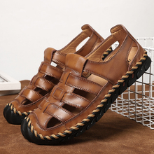 Merkmak New Summer Male Genuine Leather Sandals Casual Shoes Men