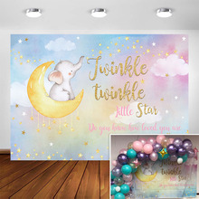Twinkle Twinkle Little Star Elephant Backdrop Watercolor Moon Elephant Baby Shower Photography Background Birthday Party Decor