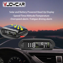 VJOYCAR-velocímetro Digital S98 Universal para coche, dispositivo inalámbrico con pantalla HUD, GPS, alarma de sobrevelocidad con carga Solar, temperatura del coche Altitud