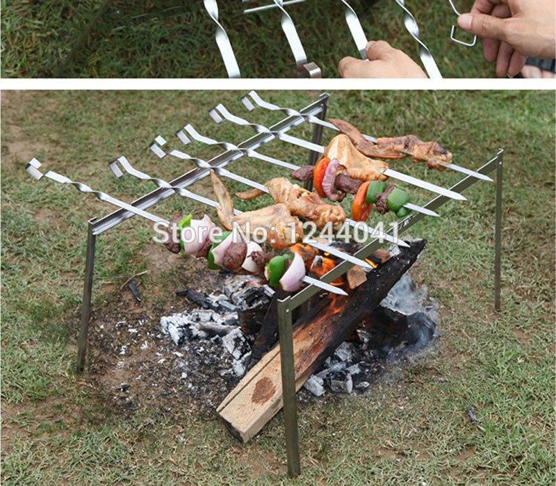 Шампура из нержавеющей стали плоское мясо барбекю шампуры вилки открытый барбекю гриль Аксессуары Вилка для обжарки пикника на открытом воздухе