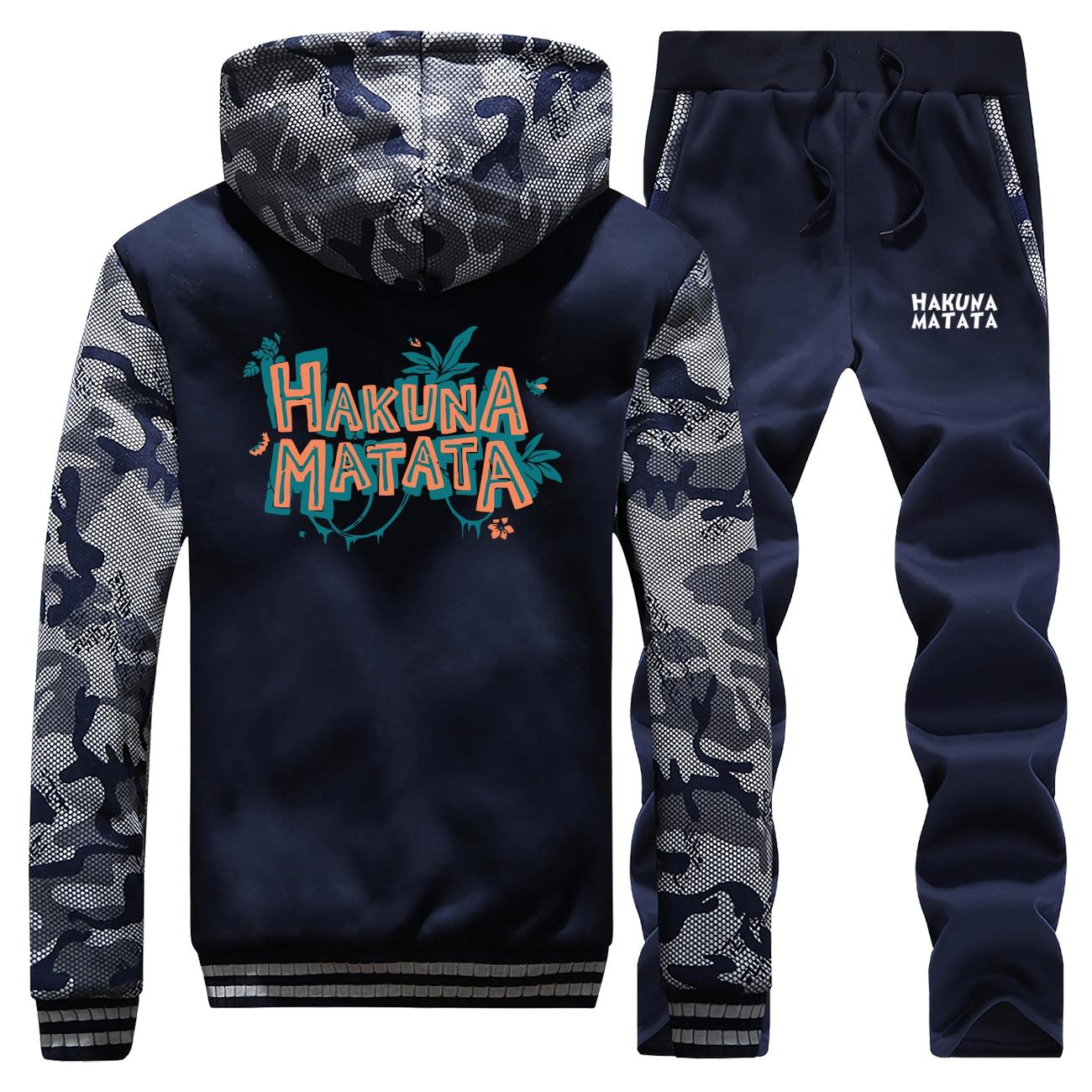 The Lion King Friends Sweatshirt+Sweatpants Mens Hakuna Matata Cartoon Thick Hoodies Hip Hop Zip Men Jacket Harajuku Tracksuit