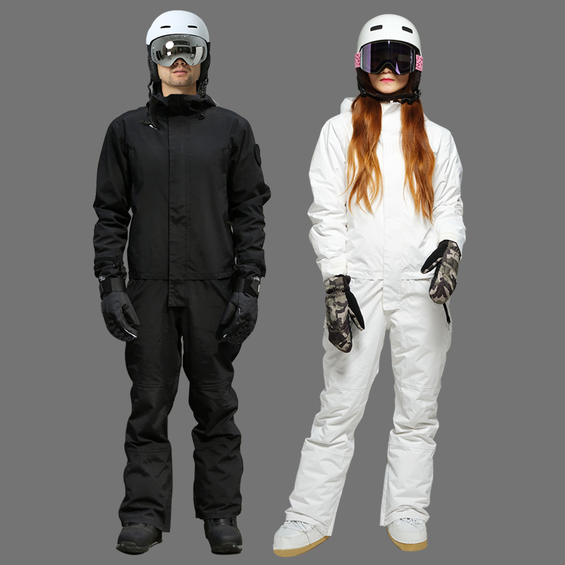 2019 Ski Jumpsuit Men Waterproof Snowboard Winter Overalls For Women Hooded Ski Suit Men's Sport Snowsuit Female Skiing Suits