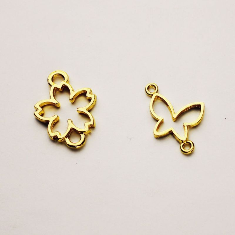 5Pcs Butterfly Flower Resin Frame Connectors Open Bezel Setting Jewelry Making