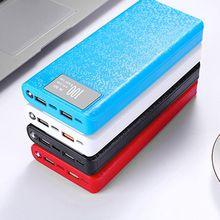 """QC 3.0 USB הכפול + סוג C פ""""ד 8x18650 סוללה DIY כוח בנק תיבת LED אור מהיר מטען עבור iPhone סמסונג טלפון סלולרי Tablet"""